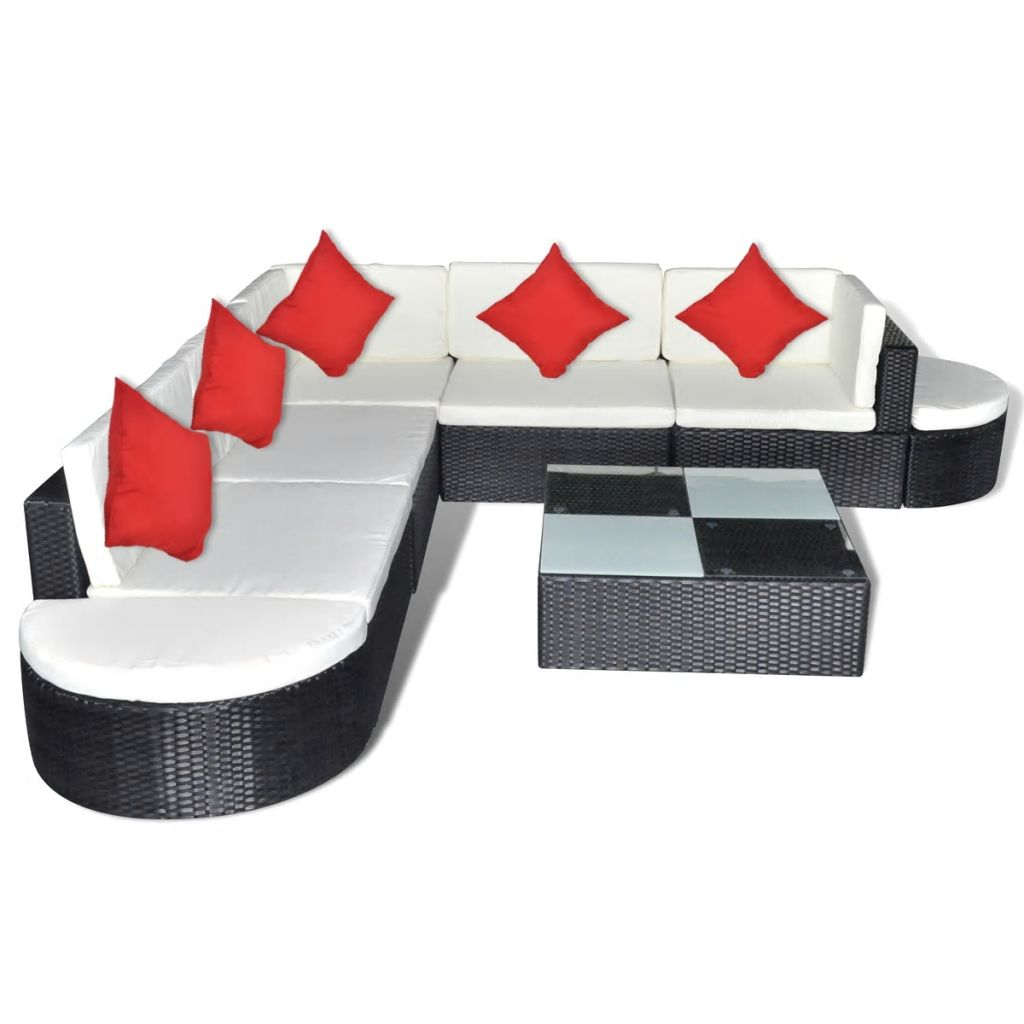8 Piece Garden Lounge Set with Cushions Poly Rattan Black 3
