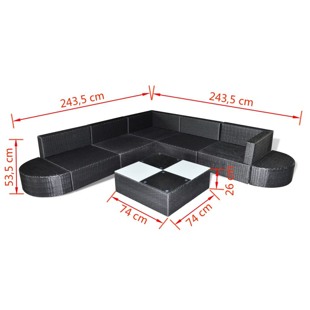 8 Piece Garden Lounge Set with Cushions Poly Rattan Black 5