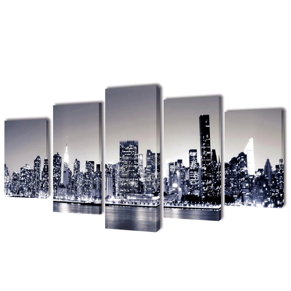 Canvas Wall Print Set Monochrome New York Skyline 100 x 50 cm 1