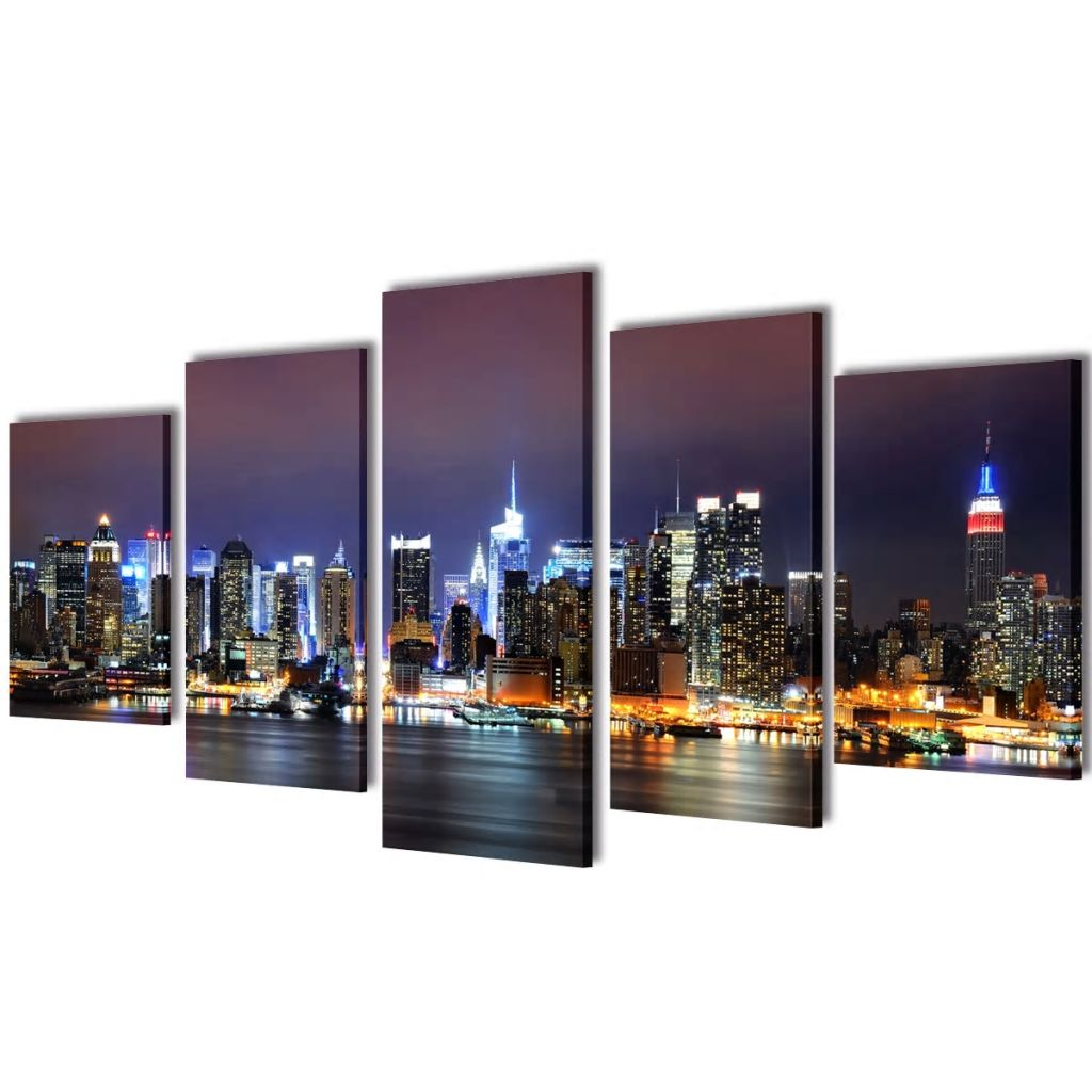 Canvas Wall Print Set Colourful New York Skyline 100 x 50 cm 1