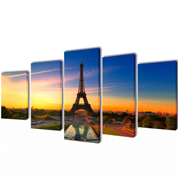 Canvas Wall Print Set Eiffel Tower 200 x 100 cm 1