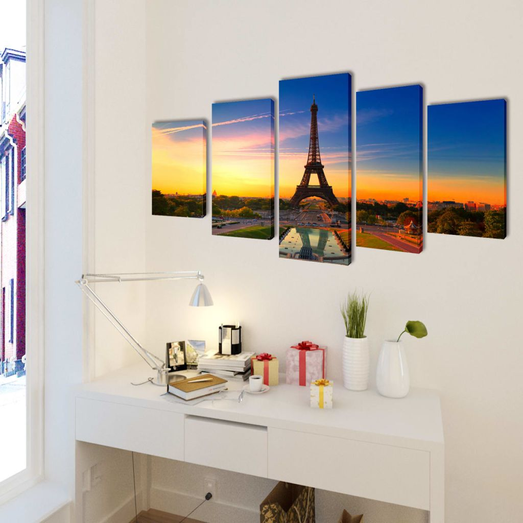 Canvas Wall Print Set Eiffel Tower 200 x 100 cm 2