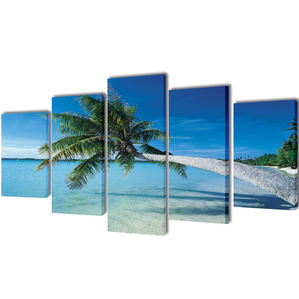 Canvas Wall Print Set Sand Beach with Palm Tree 200 x 100 cm 1
