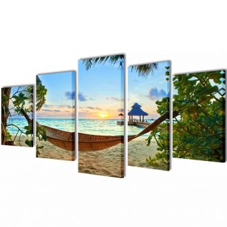 Canvas Wall Print Set Sand Beach with Hammock 100 x 50 cm 1