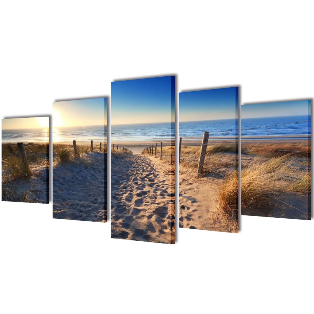 Canvas Wall Print Set Sand Beach 100 x 50 cm 1