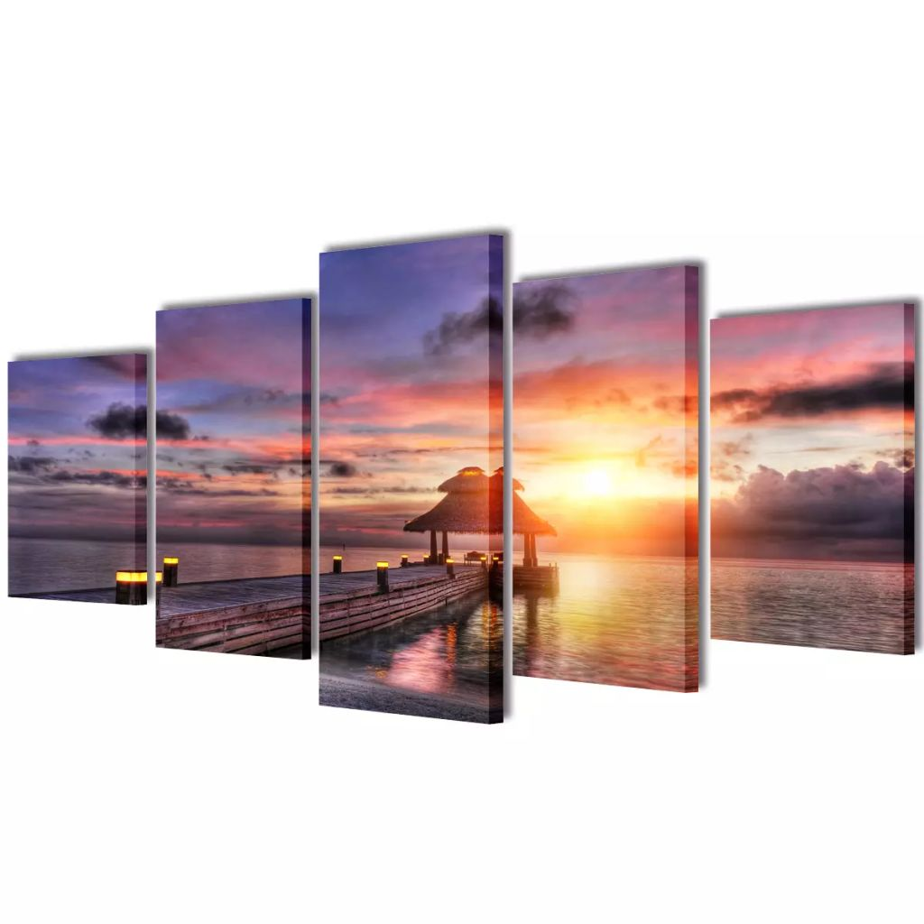 Canvas Wall Print Set Beach with Pavilion 100 x 50 cm 1
