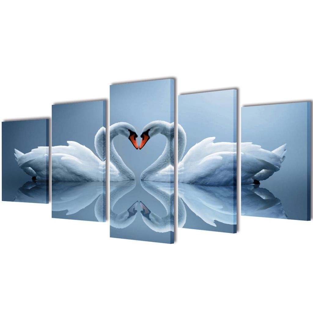Canvas Wall Print Set Swan 100 x 50 cm 1
