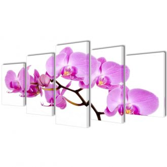 Canvas Wall Print Set Orchid 100 x 50 cm 1