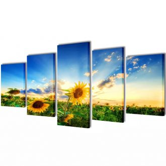 Canvas Wall Print Set Sunflower 100 x 50 cm 1
