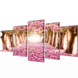 Canvas Wall Print Set Cherry Blossom 100 x 50 cm 1