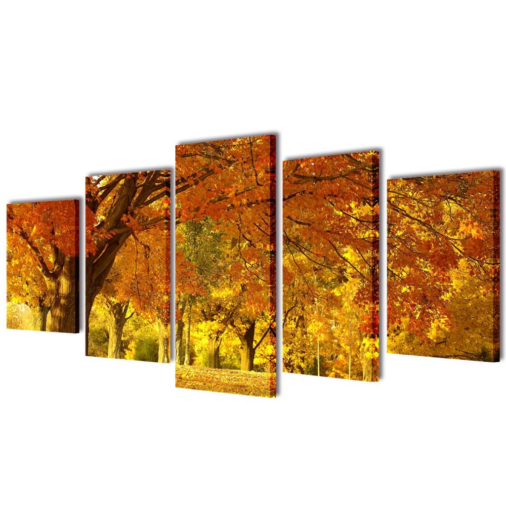 Canvas Wall Print Set Maple 200 x 100 cm 1