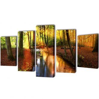 Canvas Wall Print Set Forest 100 x 50 cm 1