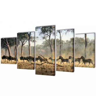 Canvas Wall Print Set Zebras 100 x 50 cm 1