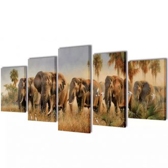 Canvas Wall Print Set Elephants 100 x 50 cm 1