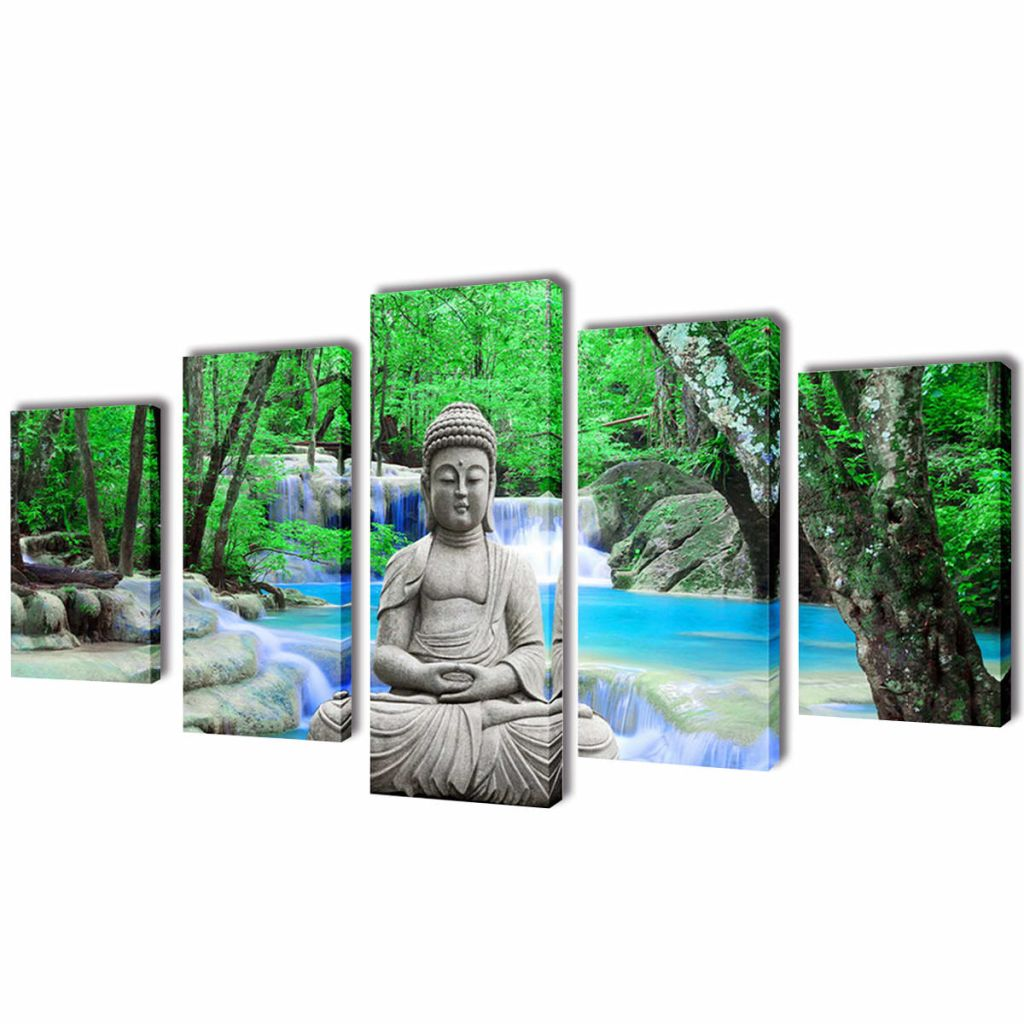 Canvas Wall Print Set Buddha 100 x 50 cm 1
