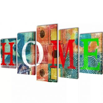 Canvas Wall Print Set Colourful Home Design 100 x 50 cm 1