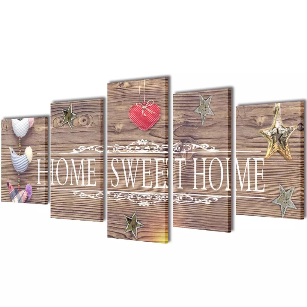Canvas Wall Print Set Home Sweet Home Design 100 x 50 cm 1