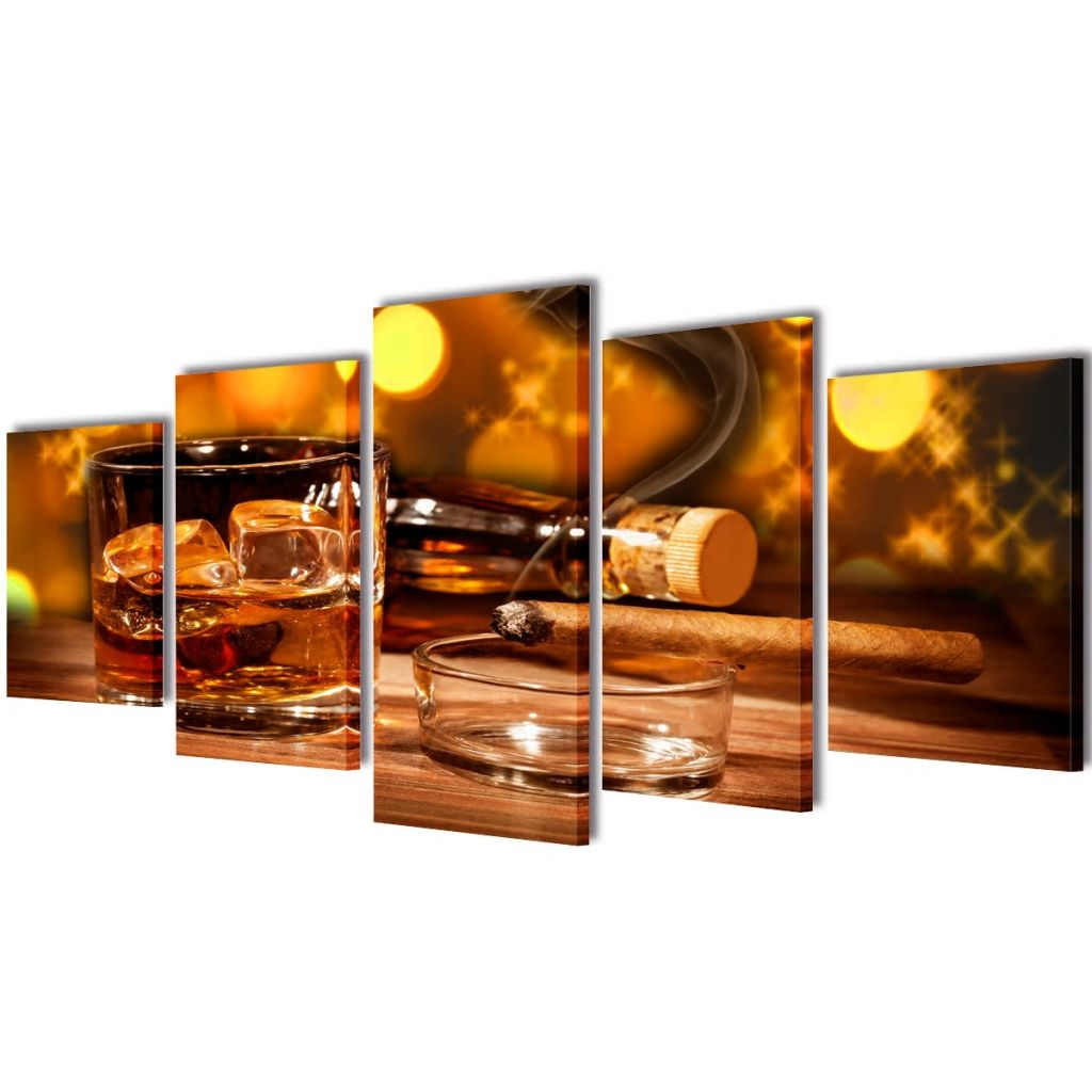 Canvas Wall Print Set Whiskey and Cigar 100 x 50 cm 1