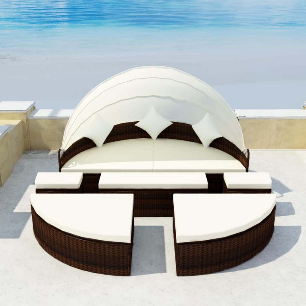Garden Bed with Canopy Brown 186x226 cm Poly Rattan