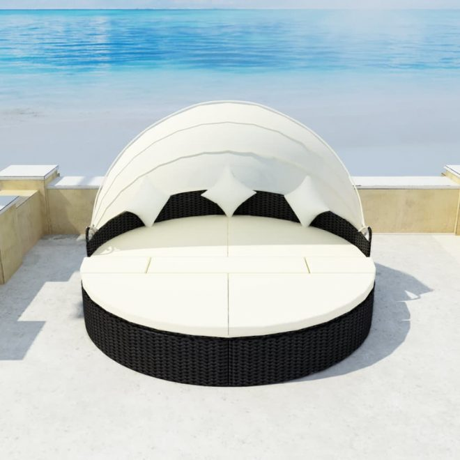 Garden Bed with Canopy Black 186×226 cm Poly Rattan 3