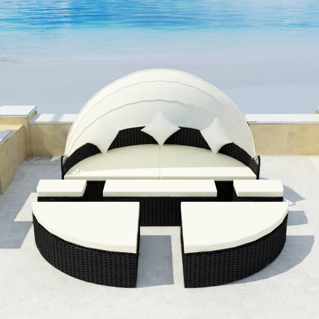 Garden Bed with Canopy Black 186×226 cm Poly Rattan 1