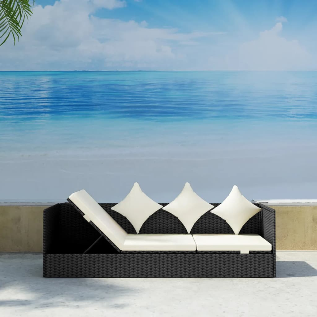 Outdoor Sofa with Cushion & Pillow Poly Rattan Black