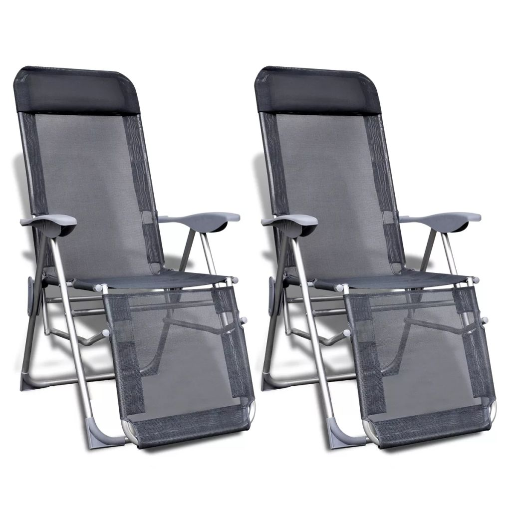 Folding Garden Chairs 2 pcs Aluminium and Textilene Grey 1