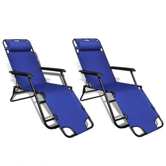 Folding Sun Lounger 2 pcs with Footrests Steel Blue 1