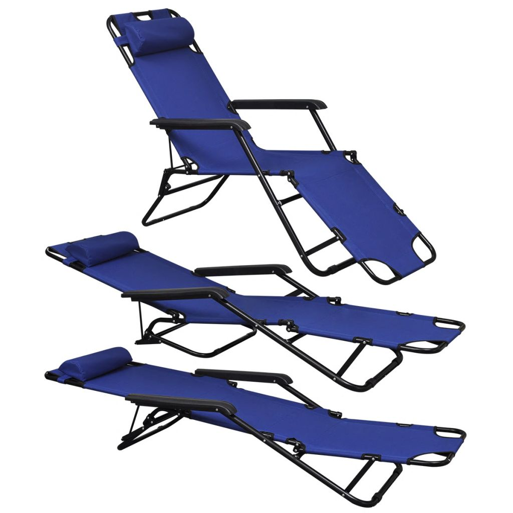 Folding Sun Lounger 2 pcs with Footrests Steel Blue 2