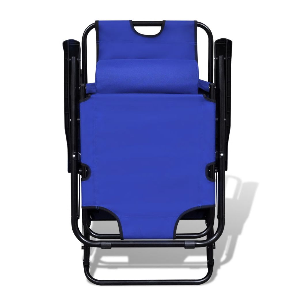 Folding Sun Lounger 2 pcs with Footrests Steel Blue 3