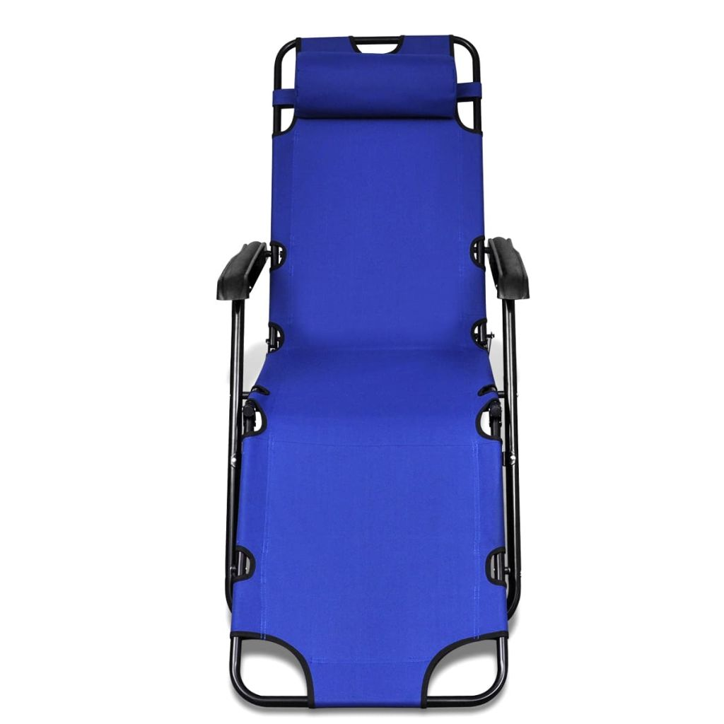 Folding Sun Lounger 2 pcs with Footrests Steel Blue 4