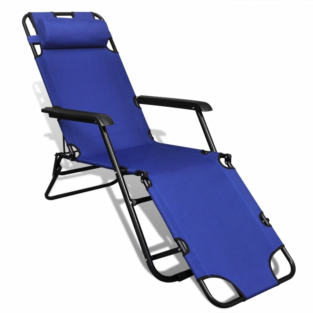 Folding Sun Lounger 2 pcs with Footrests Steel Blue 6