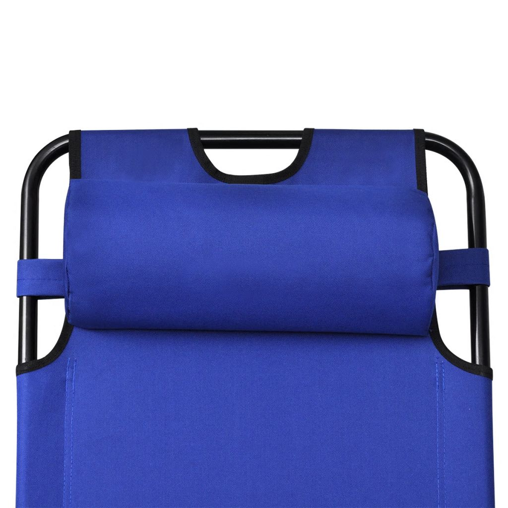 Folding Sun Lounger 2 pcs with Footrests Steel Blue 8