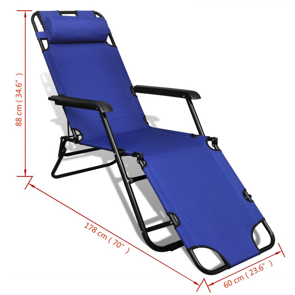 Folding Sun Lounger 2 pcs with Footrests Steel Blue 9