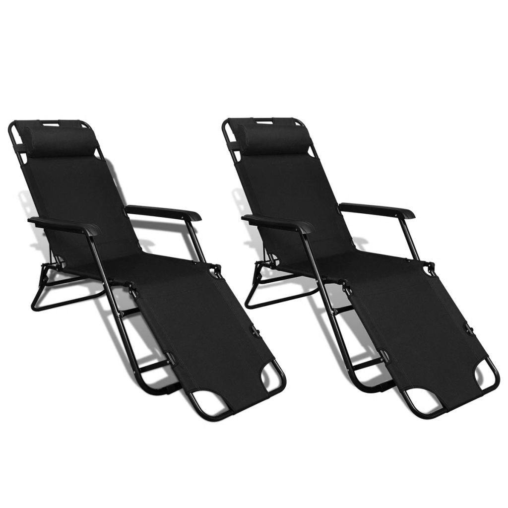 Folding Sun Lounger 2 pcs with Footrests Steel Black 1