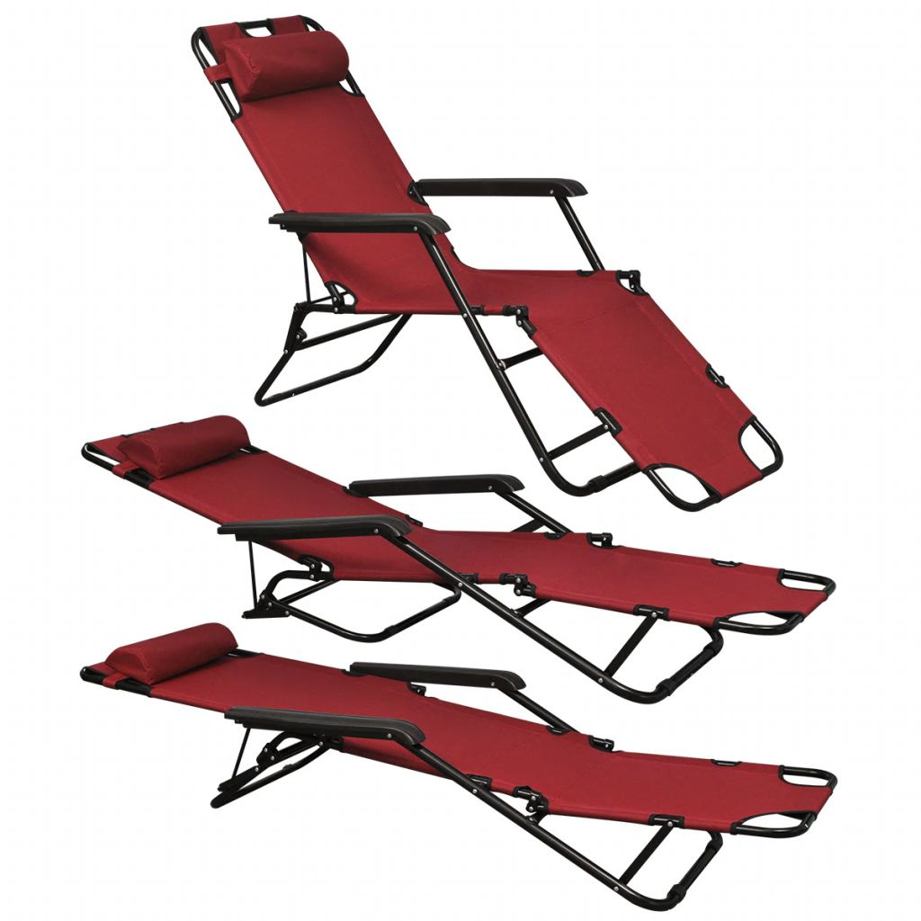 Folding Sun Lounger 2 pcs with Footrests Steel Red 2