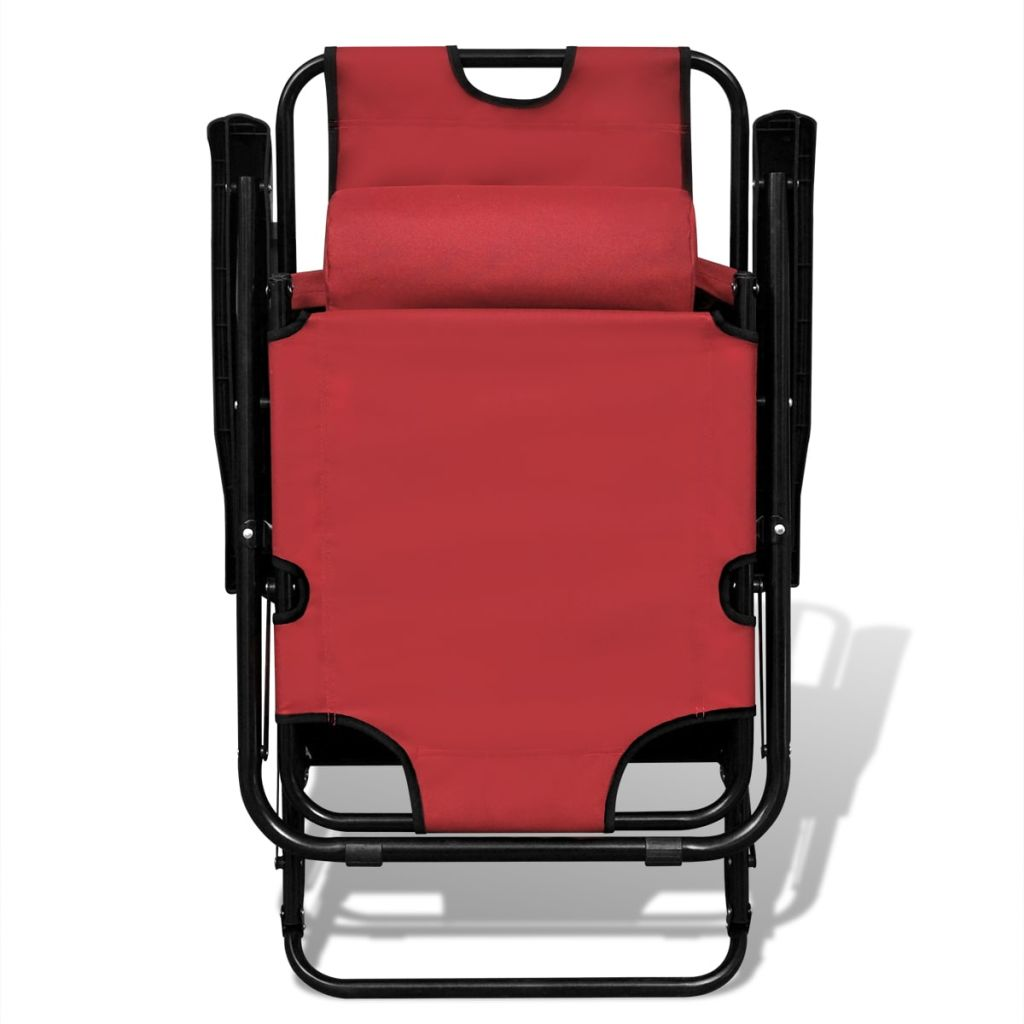 Folding Sun Lounger 2 pcs with Footrests Steel Red 3