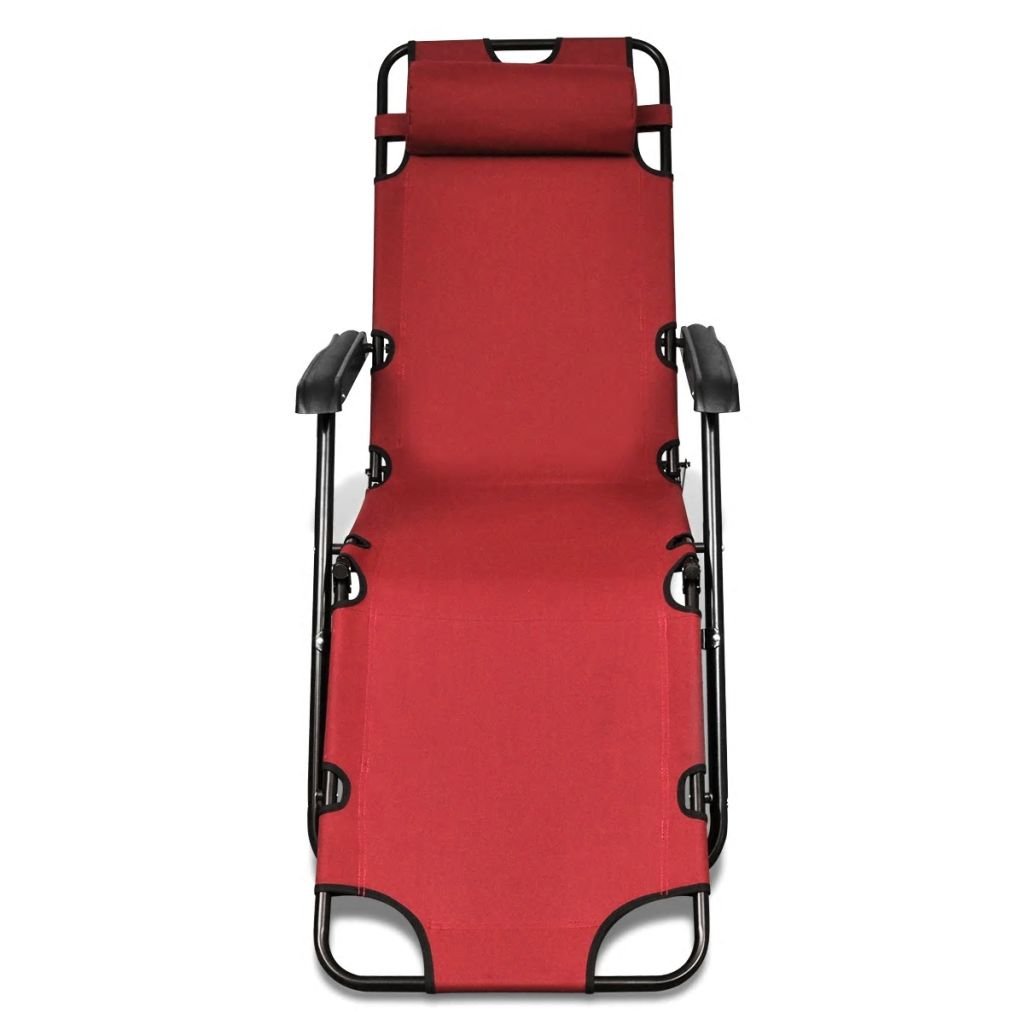 Folding Sun Lounger 2 pcs with Footrests Steel Red 4