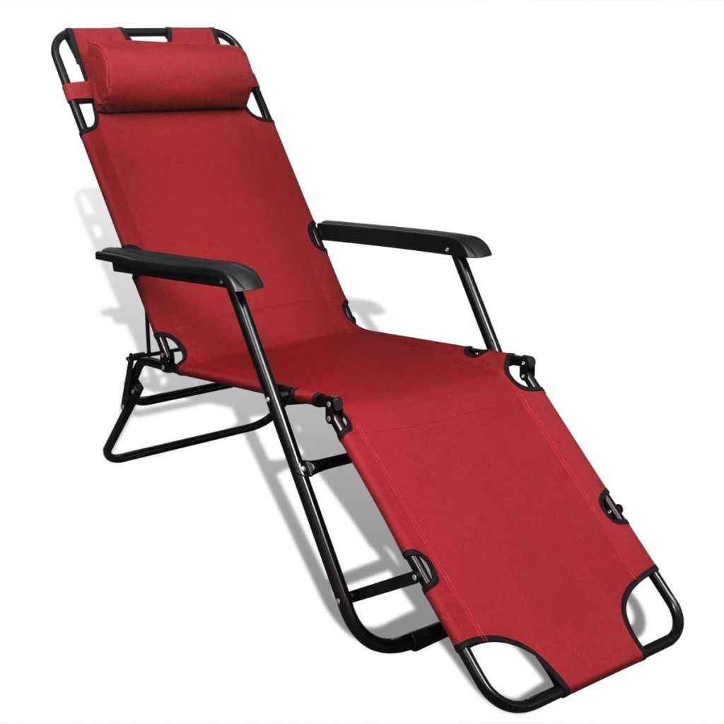 Folding Sun Lounger 2 pcs with Footrests Steel Red 6