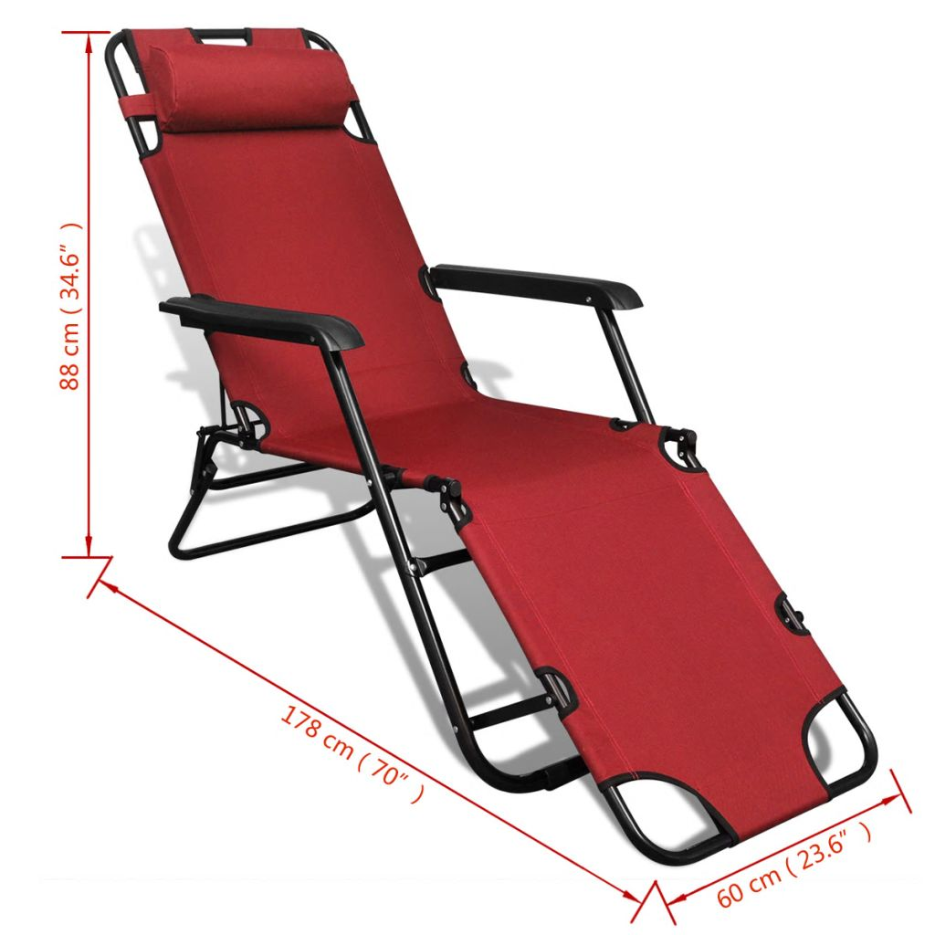 Folding Sun Lounger 2 pcs with Footrests Steel Red 9
