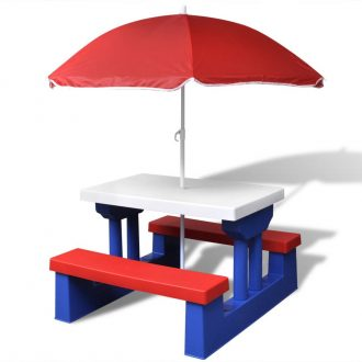 Kids' Picnic Table with Benches and Parasol Multicolour 1