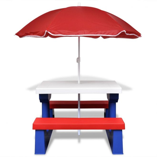 Kids' Picnic Table with Benches and Parasol Multicolour 3
