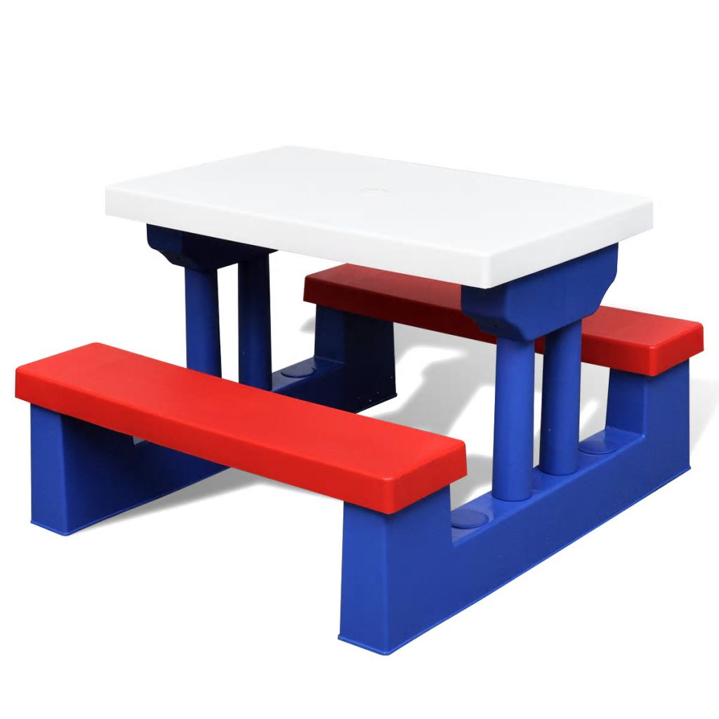 Kids' Picnic Table with Benches and Parasol Multicolour 4
