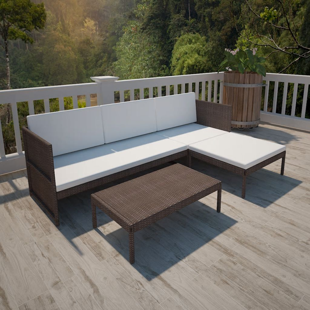 3 Piece Garden Lounge Set with Cushions Poly Rattan Brown 1