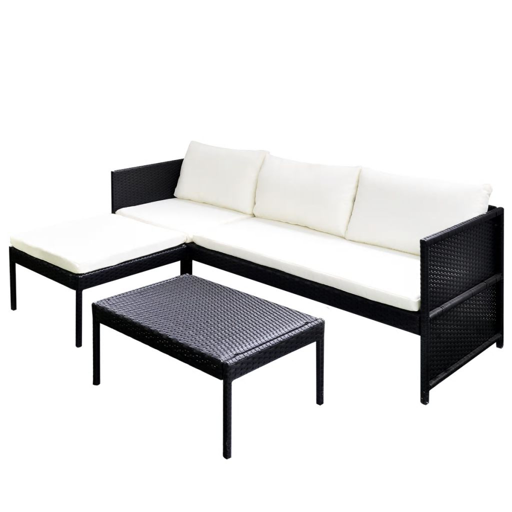 3 Piece Garden Lounge Set with Cushions Poly Rattan Black 2
