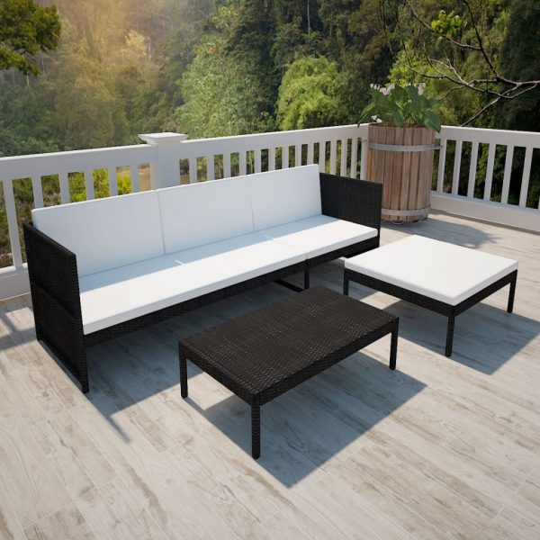 3 Piece Garden Lounge Set with Cushions Poly Rattan Black 3