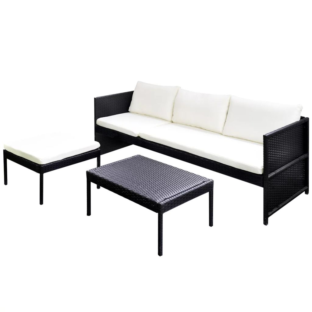 3 Piece Garden Lounge Set with Cushions Poly Rattan Black 4