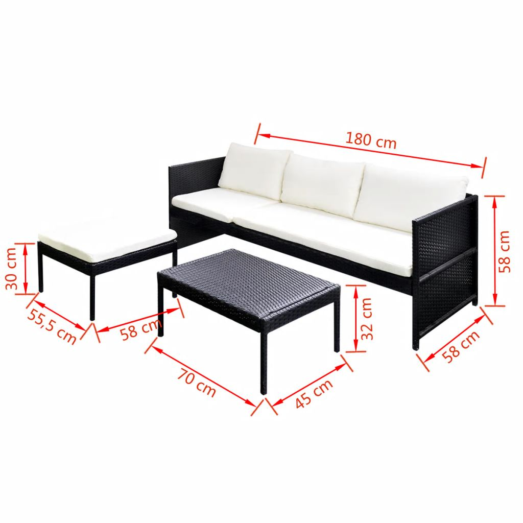 3 Piece Garden Lounge Set with Cushions Poly Rattan Black 7