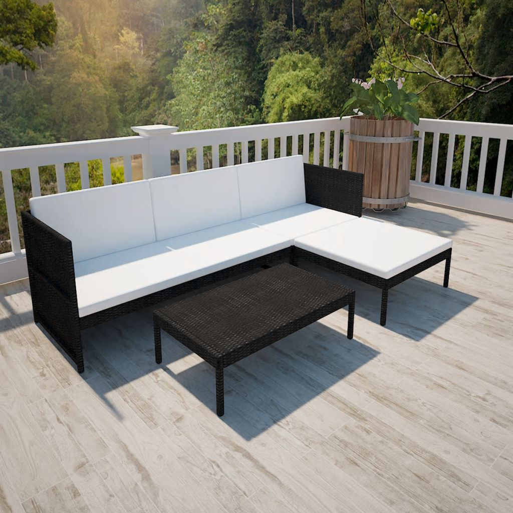 3 Piece Garden Lounge Set with Cushions Poly Rattan Black