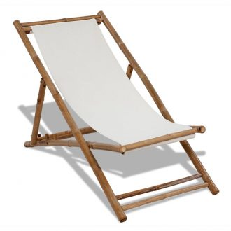 Outdoor Deck Chair Bamboo and Canvas 1
